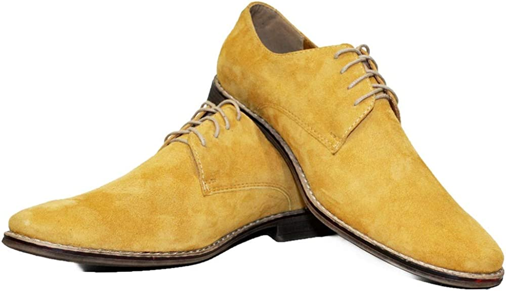 Modello Ettero - Handmade Italian Mens Color Yellow Oxfords Dress Shoes - Cowhide Suede - Lace-Up