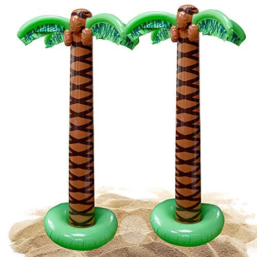 Kicko Inflatable Palm Tree - 2 Pack - 66 Inch Giant Tropical Inflate Party Accessory for Outdoor Activities, Summer Beach Luau, Hawaiian Birthday, Pool Decor, Stage Prop