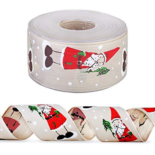Cinta de regalo con diseño de Feliz Navidad, cinta de regalo con carrete, cinta de purpurina transparente con alambre para decoración de Navidad, decoración de fiestas, decoración de boda beige