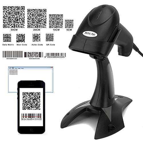 TYEARS Wired Barcode Scanner with Stand, for 1D 2D QR Code,Compatible with andriod, iOS & Windows,Work with iPhone,Tablet and pc (Wired+Stand+2D) 3d barcode scanner