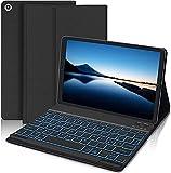 IVEOPPE Tastatur Hülle für Samsung Galaxy Tab A7 10.4 Zoll 2020 SM-T500/T505/T507, Hintergr&beleuchtete Abnehmbare Bluetooth Deutsches QWERTZ Tastatur Folio Magnetic Hülle Tischtuch(Schwarz)