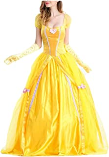 HESANYU CA Lady Halloween Queen Uniform Beauty and Beast Cosplay Bell Princess Dress Stage Performance Costume
