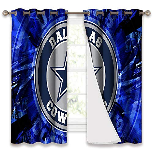 Waynekeysl Dal-las Cow-boys Decorative Curtains American football team Blackout Curtains for Living Room Bedroom Home 2 Panels W42 x L84 Inch