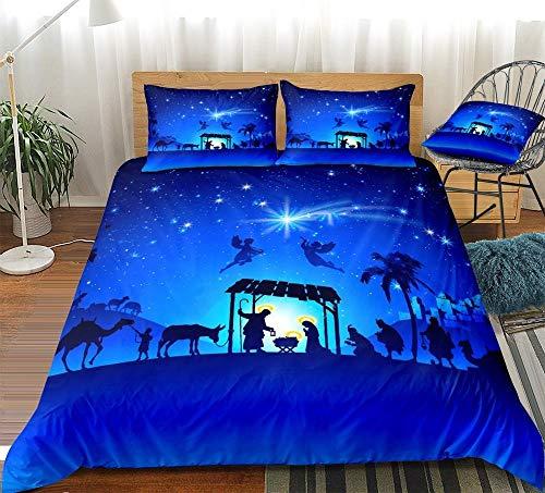Aolomp 2/3 pièces Ensembles de literie Impression 3D Ciel Bleu Ciel étoilé Motif Housses de Couette taie d'oreiller Textile de Maison 220 cm * 240 cm