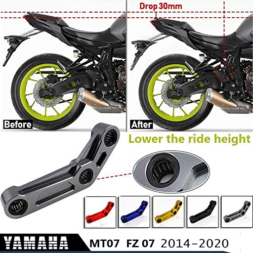 XX eCommerce MT07 FZ07 Rear Suspension Lowering Link Kit 30mm For Yamaha MT 07 FZ 07 MT-07 FZ-07 2014-2020 Motorcycle Accessories Linkage Drop Kit CNC 2015 2016 2017 2018 2019 (Blue)