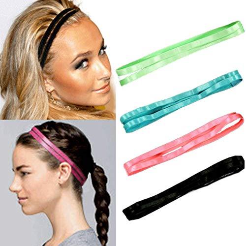 Elastische Sport Hoofdbanden Double-Straps Niet Slip Haarband Silicone Gevoerde Sweatband Yoga Haaraccessoires voor Vrouwen en Meisjes (4St)