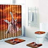 Xmiral Duschvorhänge Badezimmerteppich U-Pad über WC-Sitzkissen 4 Stück Satz Shell Serie(A)