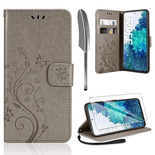 AROYI Lederhülle Kompatibel mit Samsung Galaxy S20 FE 4G/5G Hülle & Schutzfolie, Flip Wallet Handyhülle PU Leder Tasche Hülle Kartensteckplätzen Schutzhülle Grau