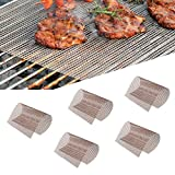 Copper BBQ Grill Mesh Mat-Set of 5 Non-Stick Reusable Heavy Duty 13x15.75 Inch Heat Resistant-Easy to Clean PTFE Coated Fiberglass Silicone Free-Suitable for Smoker, Pellet, Gas, Charcoal Grill