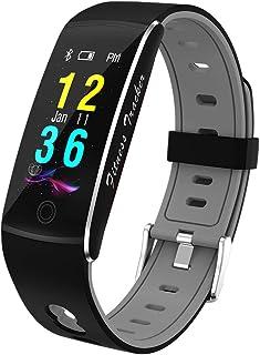 Greaty Pulsera Actividad, Impermeable IP67 Reloj Inteligente Color Pantalla Pulsómetro Oximetría Esfigmomanómetro Monitor de Sueño Podómetro,Black