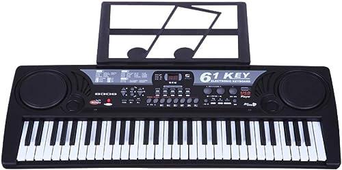 HXGL-Tastatur Kindertastatur 61 Tasten Mit Mikrofon Spielzeugtastatur Jungen Und mädchen USB-Tastatur-Stromversorgung (Farbe   Schwarz Größe   A)