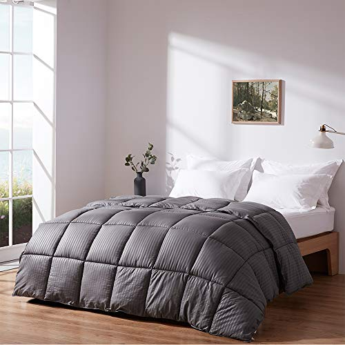 WARFFET Grey Down Alternative Comforter King All Season, Soft Duvet Insert Hypoallergenic Plush Stripe Comforter, Lightweight and Machine Washable (106 x 90 Inches)