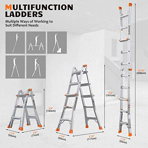 TACKLIFE Step Ladder, 17 Feet Aluminum Extension Ladder with 300lbs Load Capacity, Non-Slip Rubber feet with 2 Durable Wheels Under Easy to Carry, Ideal for Home use