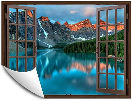 IDEA4WALL Wall Murals for Bedroom Fake Window Beach Brown Window Removable Wallpaper Peel and product image