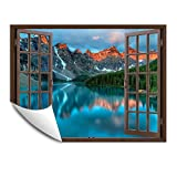IDEA4WALL Wall Murals for Bedroom Fake Window Beach Brown Window Removable Wallpaper Peel and Stick Wall Stickers - 36x48 inches