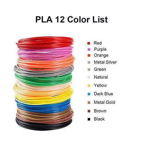 Lot de 24 filaments PLA pour imprimante 3D, haute précision 1,75 mm, filament PLA de couleur mélangée - Chaque couleur 15 pieds au total 180 pieds, 30