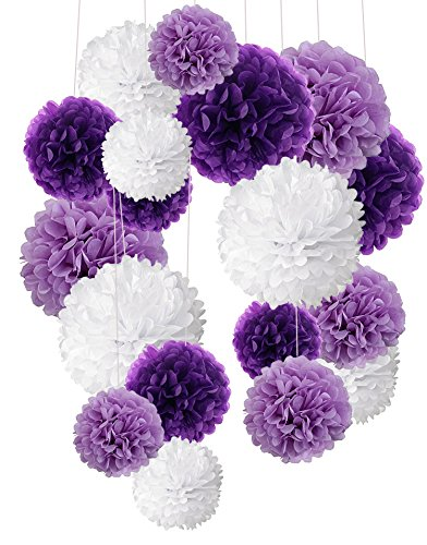 Tissue Paper Pom Poms, Recosis Paper Flower Ball for Birthday Party Wedding Baby Shower Bridal Shower Festival Decorations, 18 Pcs - Purple, Lavender and White