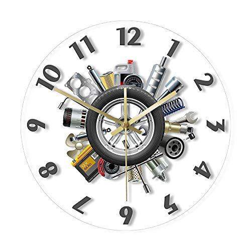 Reloj de cocina Servicio de Coche Herramientas Garaje Pared Reloj Moderno Servicio de Coche Mecánico Auto Lover Regalo Movimiento Silencioso Reloj Hombre Cueva Decoración