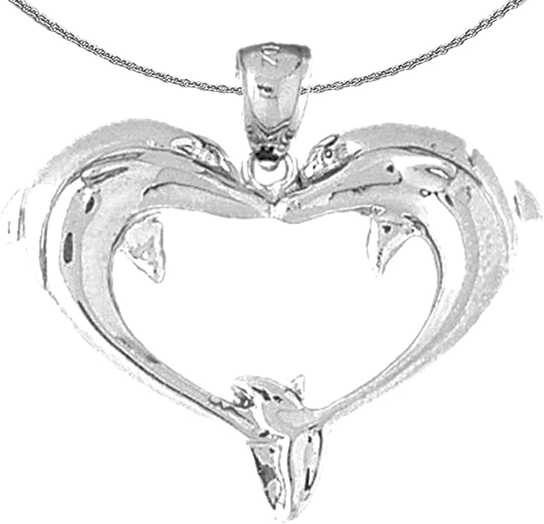 Jewels Obsession Silver Max 82% OFF Dolphin Rhodium-plated High order Heart Necklace