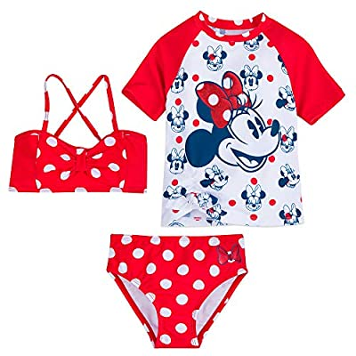 Disney Minnie Mouse Red Polka Dot Deluxe Swimsuit Set for Girls- Size 5/6