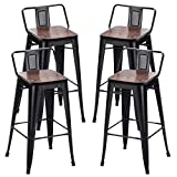 Alunaune 30' Metal Bar Stools Set of 4 Counter Height Barstools Industrial Counter Stool with Wood Top (Low Back,Matte Black)
