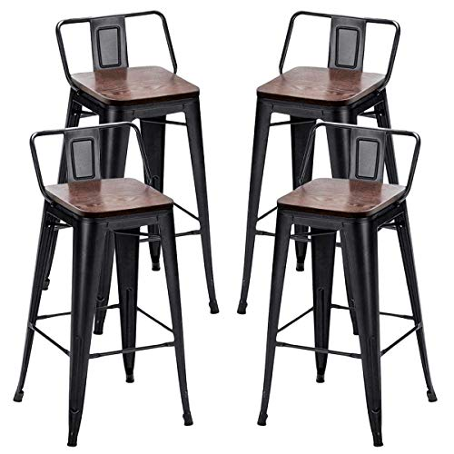 Alunaune 26' Metal Bar Stools Set of 4 Counter Height Barstools Industrial Counter Stool with Wood Top (Low Back,Matte Black)