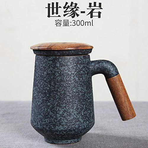 Taza Mug Regalo Taza De Cerámica Japonesa Taza De Oficina Con Tapa Taza De Filtro De Cerámica De Gran Capacidad Forro Simple Botella Para Agua Taza De Taza De Viaje De Café, Ver Tabla