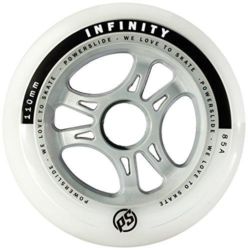 Powerslide Rollen Infinity II 4-Pack - Ruedas para Patines en línea, Color Blanco, Talla 110mm