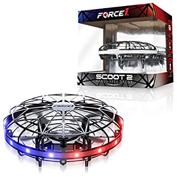 Force1 Scoot LED Hand Operated Drone for Kids or Adults - Hands Free Motion Sensor Mini Drone Easy Indoor Small UFO Toy Flying Ball Drone Toys for Boys and Girls  Gray