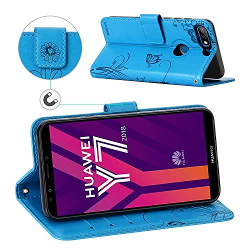 kazineer Hülle für Huawei Y7 2018, Handyhülle Leder Tasche Flip Case mit Standfunktion Schutzhülle kompatibel mit Huawei Y7 2018/ Y7 Prime 2018 (Türkis-Blau) - 3