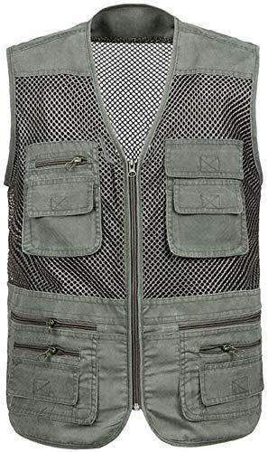 Chaleco Los hombres de deportes al aire libre Multi-bolsillo malla pesca con mosca Caza Fotografía tiroteo hombres de edad viaje de secado rápido de la chaqueta M