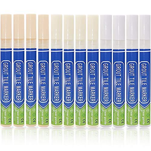 Lot de 12 stylos à coulis ACRIAL Golden Light pour réparation de joints de carrelage et de joints de carrelage (4Blanc, 4Crème, 4Beige)