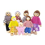 T TOOYFUL 1:12 Puppenfamilie Puppenhaus Familie 7 Holzbiegepuppen Set Kinder Spielzeug