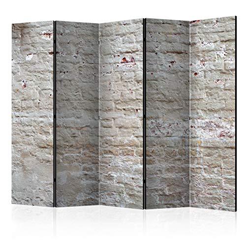 murando Raumteiler Foto Paravent Ziegel 225x172 cm beidseitig auf Vlies-Leinwand Bedruckt Trennwand Spanische Wand Sichtschutz Raumtrenner Design Steinwand f-A-0507-z-c