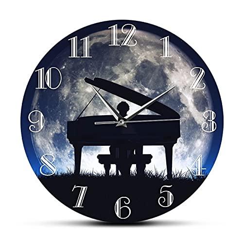 xinxin Reloj de Pared Hombre Tocando el Piano con la Luna Reloj de Pared Decorativo Músico clásico Arte de la Pared Pianista Decoración del hogar Movimiento silencioso Reloj de Pared