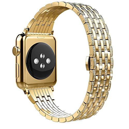 ZLRFCOK Caja de diamante+correa de acero inoxidable para Apple Watch Series 6 SE 5 4 3 bandas cubierta para/iWatch 38mm 42mm 40/44mm pulsera mujeres reloj correa