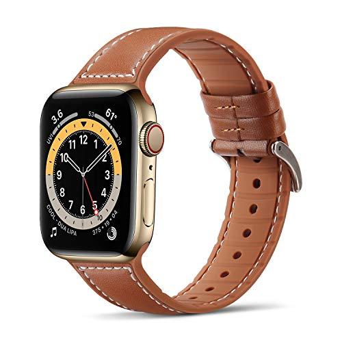 Tasikar Compatibile per Cinturino Apple Watch 42 mm 44 mm Cinturini di Sportivo in Vera Pelle e Silicone Morbido per Apple Watch SE Serie 6/5/4 Serie 3/2/1 - (42mm 44mm, Marrone)