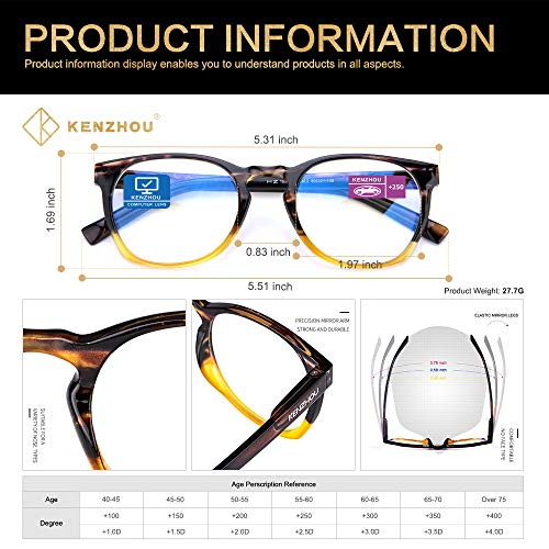 K Kenzhou Computer Reading Glasses Blue Light Blocking Lightweight Glasses for Women 2 Pack(Black/Yellow, 2.5)