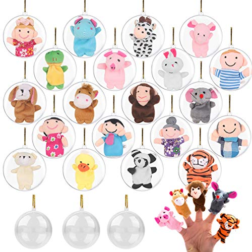 20 Clear Christmas Ball Ornaments Filled with Finger Puppets - Fill with Toys or Surprises for Decor, Xmas Tree, Birthdays, Parties, Events