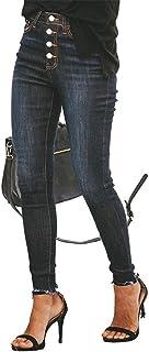 FEIFUSHIDIAN - Pantalones vaqueros ajustados para mujer (color: azul oscuro, tamaño: 3XL)