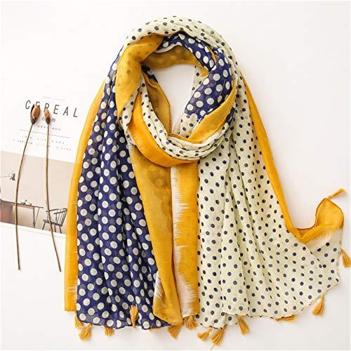 hkwshop Bufandas Chal Bufanda de Moda de Moda Mujer algodón Bufanda Polca Dot Playa Hijab chales y envueltos Hembra Moda Bufandas (Color : B)