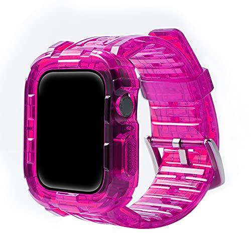 CHENPENG Correa Compatible con Apple Watch 1/2/3/4/5/6 Correa Deportiva Transparente de Resina con Funda Protectora Resistente para Hombres y Mujeres Premium Soft,1,42mm