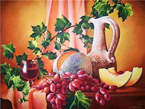 ZJZNB schilderen op nummers, knutselen voor volwassenen en kinderen, decoratie van het huis, aardbeien, mango, vaas, 40 x 50 cm
