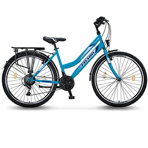 26 Zoll Fahrrad 21-Gang Schaltung mit Beleuchtung nach STVO Türkis Doppelrahmen