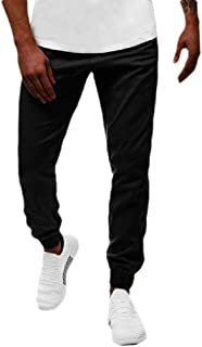 Mogogo Men's Casual Leisure Sport Pocket Solid Middle Waist Tracksuit Bottoms
