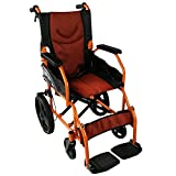 Mobiclinic, Modelo Pirámide, Silla de ruedas ortopédica, asiento de 41 cm, para minuválidos, plegable, de aluminio, freno en manetas, reposapiés, reposabrazos, color naranja