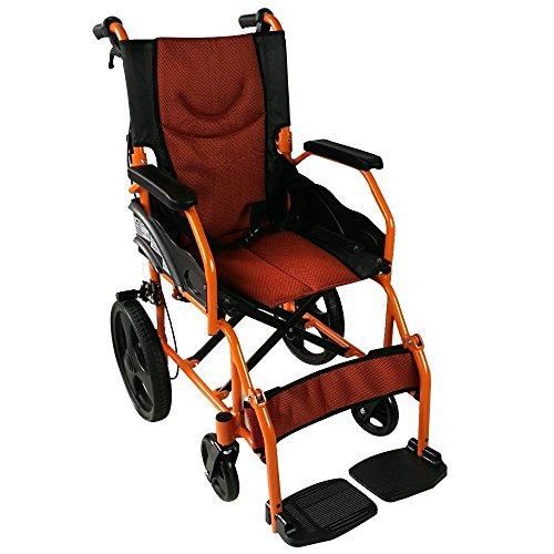 Mobiclinic, Modell Pirámide, Faltrollstuhl, tragbarer Transit-Rollstuhl, mit kleinen Rädern, Aluminium, Schwarz und Orange, Sitzbreite 41 cm