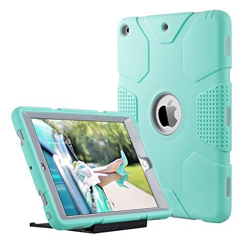 ULAK Funda iPad 9,7 Pulgada 2018/2017, [Serie Armor] 3 in 1 híbrido Cases de la Cubierta a Prueba de Golpes Carcasa con Soporte Función para el iPad 9.7 Pulgada 6ª/5ª generación - Menta Verde