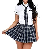 Sholeno Women School Girl Uniform Cosplay Costume Japan Anime Lingerie Short Sleeve Shirt with Mini Skirt White,Navy Blue M