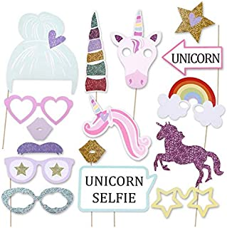 16pcs Rainbow Unicorn Photo Booth Props Theme Party Decoration - Kids Birthday Party Decor - Baby Shower